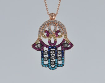 Fatima Hamsa Hand Pendant Necklace Sterling Silver with 18K Rose Gold Plating 18""