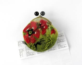 Wet Felted red Poppies FLOWER coin purse OOAK Poppy purse Ready to Ship with bag frame metal closure gift for her