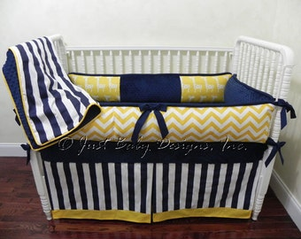 Custom Baby Crib Bedding Set Forrest - Baby Boy Bedding, Navy and Yellow Baby Bedding, Giraffes and Chevron