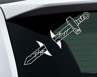 Adventure Time Finn Sword White Vinyl Sticker for Indoor and Outdoor