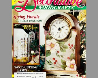 Lot of 3 Decorative Woodcrafts magazines, 1998, Primitives, Wood Cutting basics, Holiday Angel, Easter, Pansies, Bunnies, Easy Directions,