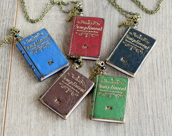 Mini book necklace Book jewelry Miniature book necklace Book pendant Book lovers gift Handmade mini book Mini journal necklace Bookworm gift