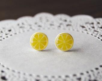 Citrus fruit earrings, lemon, lime, grapefruit, orange, fruit, summer ear studs