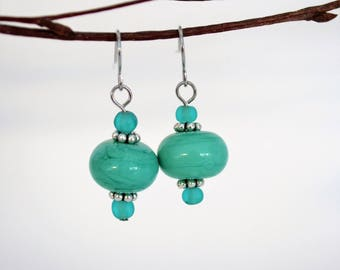 To-die-for Teal Lampwork and Sea Glass earrings