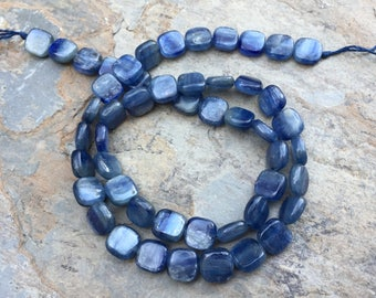 Kyanite Beads, Square Kyanite Beads, 16 inch strand, 8 mm
