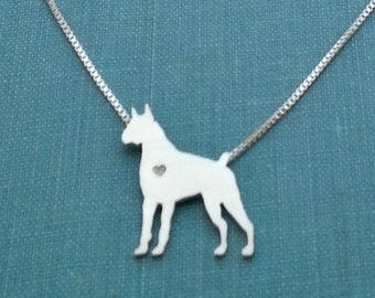 Boxer Dog Necklace, Sterling Silver Personalize Pendant, Breed Silhouette Charm, Resue Shelter, Mothers Day Gift