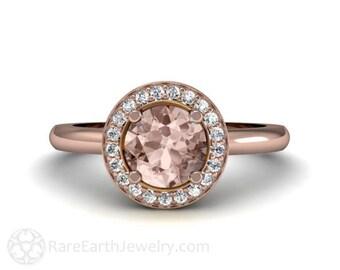 Round Halo Morganite Engagement Ring Plain Band 14K Morganite Ring Diamond Halo Custom Engagement Ring