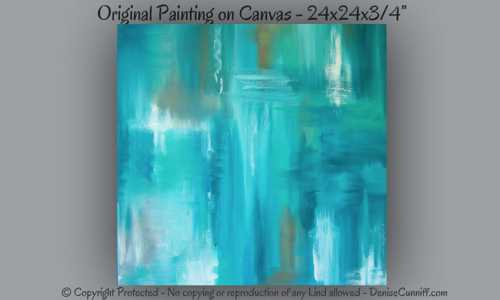 Teal Abstract Painting Canvas Art Large Wall Art Home