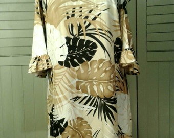 Cold Shoulder Hawaiian Dress Short Tropical Rayon Fabric Earthy Colors Hip Hipster Mae Young Designs Designer Clothing Women's Size Small