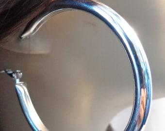 2.25 inch Hoop Earrings Pipe Tube Hoop Earrings Silver Tone Shiny Hoops