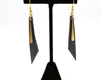 Leather and Brass Dangle Earrings