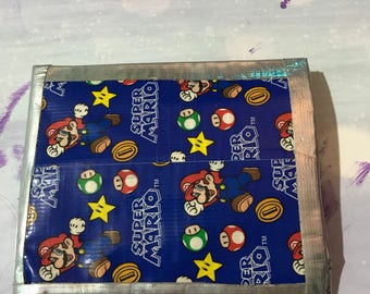 Bi-fold Super Mario print with silver trim Duct Tape Wallet