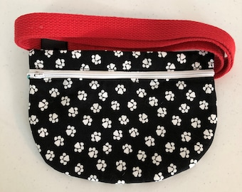 Hip Phone Pouch, White Paw Prints on Black, Buckle Belt, Adjustable Red Waist Strap