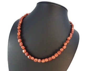 Goldstone Pebble Necklace Brown Beads with Sterling Silver Lobster Clasp, Short Sparkle Necklace Pebble Beads, Ladies Goldstone Jewelry Gift