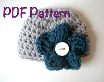PATTERN: Convertible Flutter Hat, PDF easy crochet, Interchangeable flower beanie, sizes nb-Toddler, InStAnT DoWnLoAd, Permission to Sell