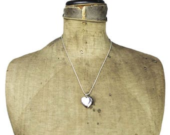 Silver Locket Necklace, Silver Heart Locket Necklace, Thin Silver Necklace with Silver Locket, Thin Silver Chain Necklace