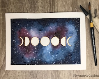 Moon phase on galaxy  - Original water color painting - A4