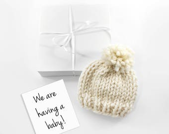 Baby Announcement Pregnancy Reveal, Baby Hat, Grandparent Baby Gift
