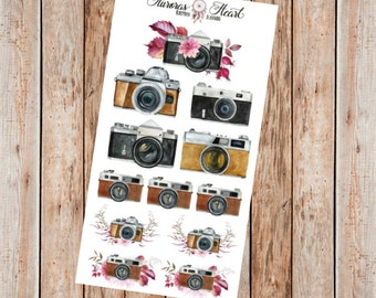 Vintage Retro Camera Snapshot illustration planner stickers
