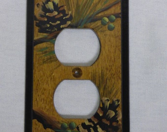 Outlet wall plate   Wood Switch Plate    Pine Cone Design
