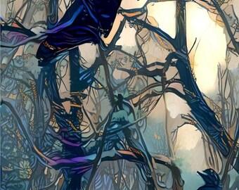 ATC ACEO Raven Song Crows Birds Blue Art Card