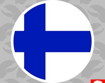 Round Finnish Flag Sticker Self Adhesive Vinyl Finland FIN FI - C1822