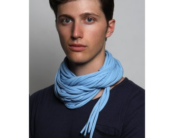 Blue Scarf, Infinity Scarf, Gift for Men, Boyfriend Gift, Mens Scarf, Gift for Husband, Man Gifts, Burning Man, Mens Necklace, Festival