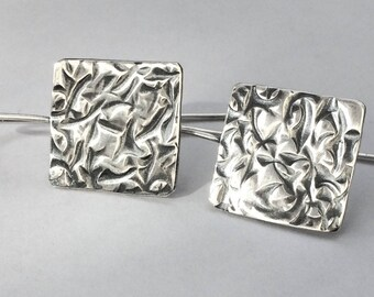 Hammered silver earrings/silver earrings/textured silver earrings