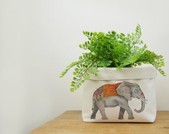 Elephant Canvas Storage Box, Storage Solution, Storage Basket, Fabric Basket, Fabric Organiser, Storage Bin, Nursery Storage, Elephant Gift
