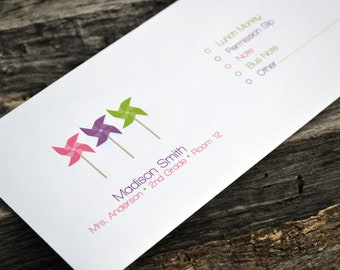 Personalized School Money Envelope for Money and Notes-Pinwheel Design