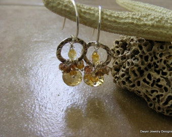 Whiskey Quartz with Yellow Sapphires, Citrine and Andalusite Earrings.
