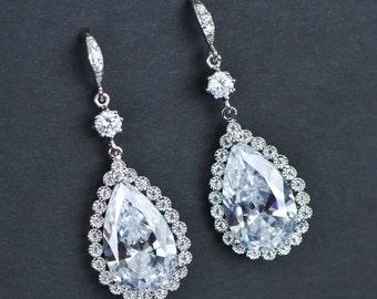 Bridal Earrings, Wedding Jewelry, Large Cubic Zirconia Teardrop Earrings, Bride Bridal Jewelry, Cubic Zirconia Large Teardrop Dangle Earring