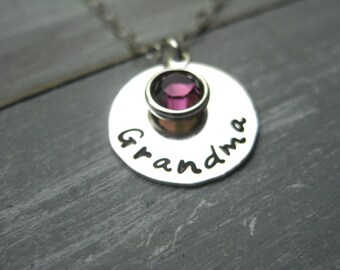 Grandma Necklace Sterling Silver Nana Jewelry Birthstone Necklace Hand Stamped Personalized Jewelry Mimi Necklace Grandmothers Necklace