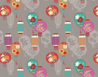 Lanterns on Light Grey  A120.2 - MINSHAN - Lewis and Irene - By the Yard