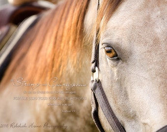 "Scripture Wall Art // Canvas Gallery Wrap // ""Be Strong"" Horse Photograph // Joshua 1:9"