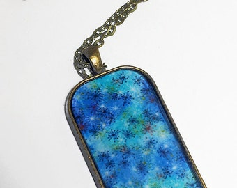 "1x2"" Domino Tile Pendant - Water Blue Washi"