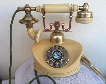 VINTAGE Rotary dial Telephone Brass &Copper (Japan)