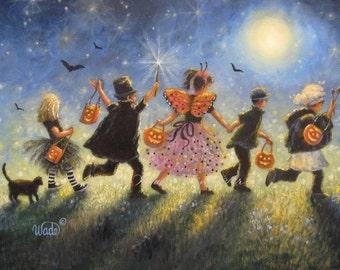 Halloween Children Art Print trick or treat paintings halloween paintings kids childrens halloween parade, halloween costumes black cat art