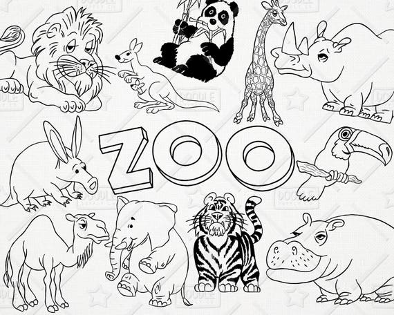 Doodle Zoo Animals Vector Pack Cute Animals Tiger Lion