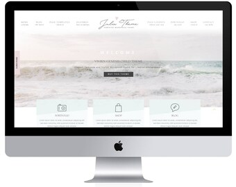 Feminine Wordpress Theme Julia / Portfolio Theme / Genesis Child Theme / Woocomerce Theme / Photography Theme / Mint Black