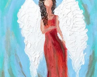 11x14 angel painting, acrylic painting on canvas, original art, custom art, guardian angel, brunette, wall decor