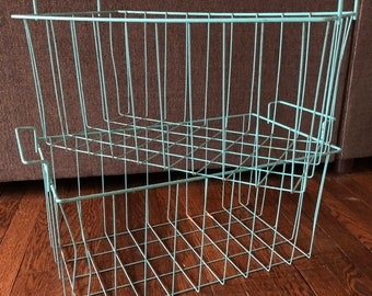 Vintage Wire Baskets Turquoise Blue