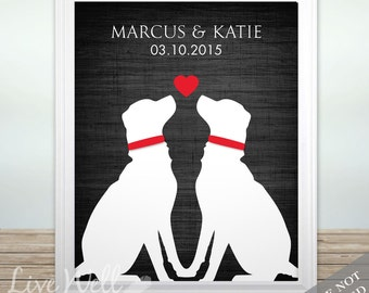 Puppy Love - Custom Dog Lover Wedding Date Name Print - Personalized Wedding Gift - Bridal Shower Gift - Engagement Present - Unframed