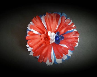 Red, white and blue hair pin