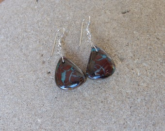 Unique Boulder Opal earrings - earthy precious jewelry -  handmade in Australia by NaturesArtMelbourne -  gem stone jewellery
