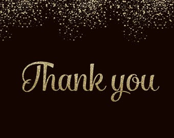 Thank You Card - Silver Glitter