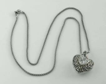 Vintage Open Work Marcasite Sterling Silver Heart Locket with 20 In. Lobster Claw Necklace Chain
