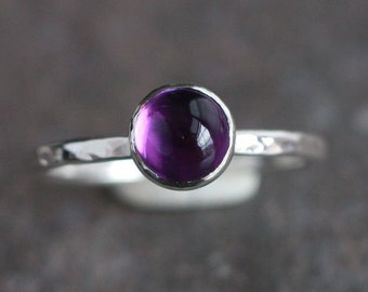 Handmade Amethyst Sterling Silver Ring | Stacking Ring | Natural Amethyst | February Birthstone | February Gift