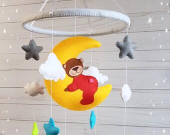 red girl nursery mobile baby crib mobile baby mobile crib mobile cute bear mobile felt baby mobile baby girl mobile