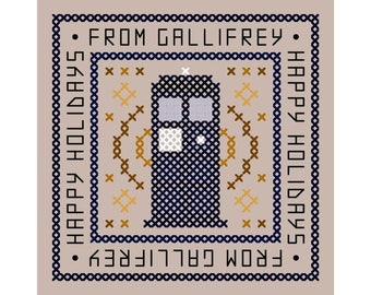 Happy Holidays From Gallifrey - Set of Three Original Cross Stitch Christmas Ornament Charts | Inspired by Doctor Who